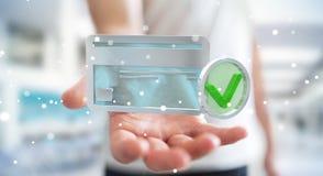 Homem de negócios que usa o cartão de crédito para pagar a rendição 3D em linha Fotos de Stock Royalty Free