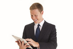 Homem de negócios que usa o computador da tabuleta da tela de toque Fotografia de Stock