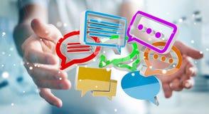 Homem de negócios que usa o ico colorido digital da conversação da rendição 3D Imagem de Stock