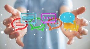 Homem de negócios que usa o ico colorido digital da conversação da rendição 3D Fotografia de Stock Royalty Free