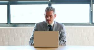 Homem de negócios que usa o portátil e recebendo um telefonema vídeos de arquivo