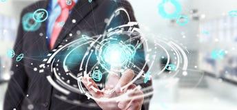 Homem de negócios que usa o renderi da relação 3D da conexão de rede do voo Fotografia de Stock