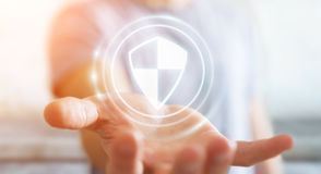 Homem de negócios que usa a proteção segura do protetor para proteger seus dados 3D Imagem de Stock