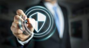 Homem de negócios que usa a proteção segura do protetor para proteger seus dados 3D Imagem de Stock Royalty Free