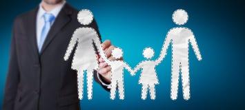 Homem de negócios que usa a relação da família com um renderi digital da pena 3D Fotografia de Stock Royalty Free