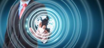 Homem de negócios que usa a relação da Web à ressaca na rendição do Internet 3D Imagens de Stock