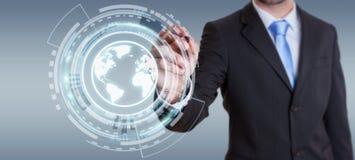 Homem de negócios que usa a relação da Web à ressaca na rendição do Internet 3D Imagem de Stock