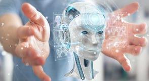 Homem de negócios que usa a relação digital 3D r da inteligência artificial ilustração do vetor