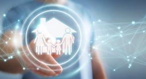 Homem de negócios que usa a rendição da aplicação 3D do seguro do cuidado da família Fotos de Stock