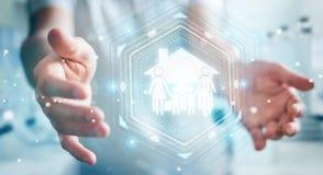 Homem de negócios que usa a rendição da aplicação 3D do seguro do cuidado da família Imagem de Stock