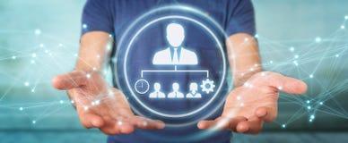 Homem de negócios que usa a rendição da carta 3D da liderança do negócio Imagem de Stock