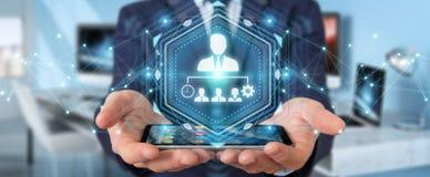 Homem de negócios que usa a rendição da carta 3D da liderança do negócio Imagens de Stock
