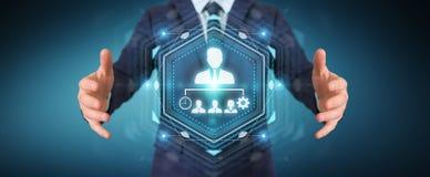 Homem de negócios que usa a rendição da carta 3D da liderança do negócio Fotos de Stock Royalty Free
