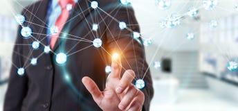 Homem de negócios que usa a rendição da conexão 3D das bolas da rede do voo Imagens de Stock Royalty Free