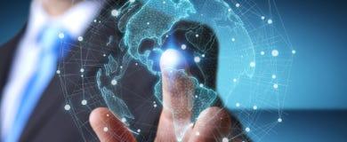 Homem de negócios que usa a rendição da relação 3D do mapa do mundo dos EUA Foto de Stock