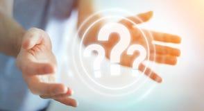 Homem de negócios que usa a rendição da relação digital 3D dos pontos de interrogação Foto de Stock Royalty Free