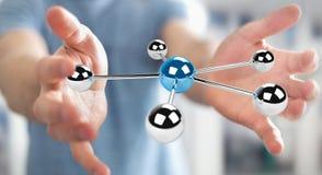 Homem de negócios que usa a rendição de voo da rede 3D das esferas 3D Imagens de Stock
