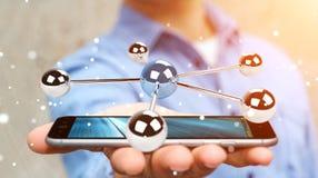 Homem de negócios que usa a rendição de voo da rede 3D das esferas 3D Imagens de Stock Royalty Free