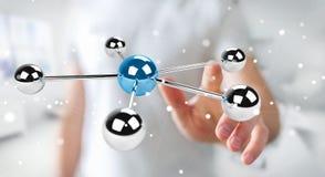 Homem de negócios que usa a rendição de voo da rede 3D das esferas 3D Imagem de Stock Royalty Free