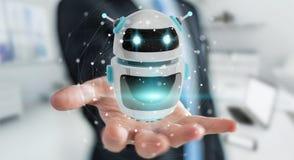Homem de negócios que usa a rendição digital da aplicação 3D do robô do chatbot Imagens de Stock Royalty Free