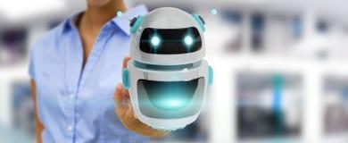 Homem de negócios que usa a rendição digital da aplicação 3D do robô do chatbot Imagem de Stock