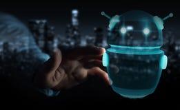 Homem de negócios que usa a rendição digital da aplicação 3D do robô do chatbot Fotografia de Stock