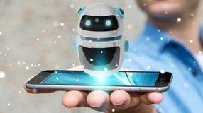 Homem de negócios que usa a rendição digital da aplicação 3D do robô do chatbot Fotografia de Stock Royalty Free