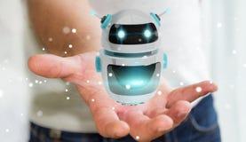 Homem de negócios que usa a rendição digital da aplicação 3D do robô do chatbot Foto de Stock