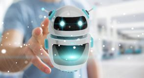 Homem de negócios que usa a rendição digital da aplicação 3D do robô do chatbot Imagens de Stock