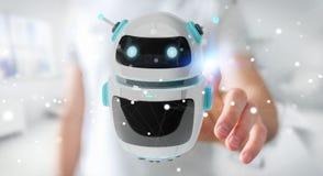 Homem de negócios que usa a rendição digital da aplicação 3D do robô do chatbot Foto de Stock Royalty Free