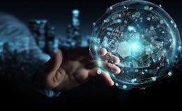 Homem de negócios que usa a rendição digital da esfera 3D dos dados dos holograma Imagem de Stock Royalty Free