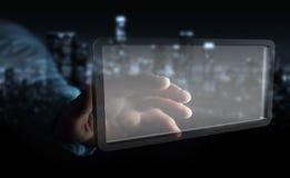 Homem de negócios que usa a rendição digital da tabuleta 3D das telas Foto de Stock Royalty Free