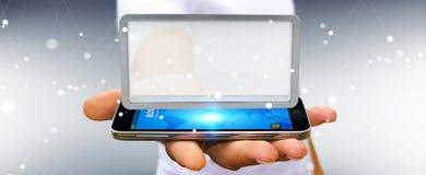 Homem de negócios que usa a rendição digital da tabuleta 3D das telas Fotografia de Stock Royalty Free