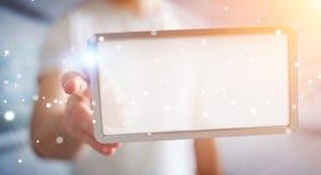 Homem de negócios que usa a rendição digital da tabuleta 3D das telas Imagens de Stock