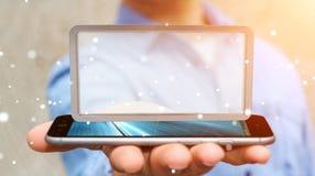 Homem de negócios que usa a rendição digital da tabuleta 3D das telas Imagem de Stock