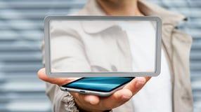 Homem de negócios que usa a rendição digital da tabuleta 3D das telas Fotos de Stock