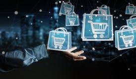 Homem de negócios que usa a rendição digital dos ícones 3D da compra Fotos de Stock Royalty Free