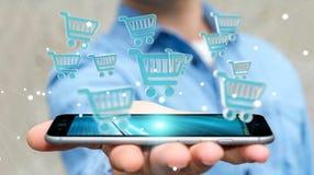Homem de negócios que usa a rendição digital dos ícones 3D da compra Imagem de Stock Royalty Free