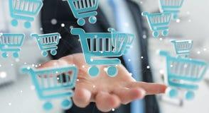 Homem de negócios que usa a rendição digital dos ícones 3D da compra Imagens de Stock Royalty Free