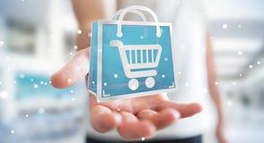 Homem de negócios que usa a rendição digital dos ícones 3D da compra Foto de Stock Royalty Free