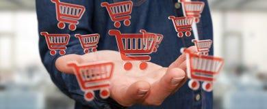 Homem de negócios que usa a rendição digital dos ícones 3D da compra Fotografia de Stock Royalty Free