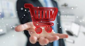 Homem de negócios que usa a rendição digital dos ícones 3D da compra Fotos de Stock