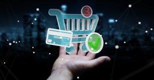 Homem de negócios que usa a rendição digital dos ícones 3D da compra Imagens de Stock