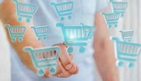 Homem de negócios que usa a rendição digital dos ícones 3D da compra Imagem de Stock