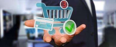 Homem de negócios que usa a rendição digital dos ícones 3D da compra Fotografia de Stock