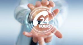 Homem de negócios que usa a rendição do auxílio 3D do cliente da linha de apoio ao cliente Imagens de Stock Royalty Free