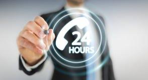 Homem de negócios que usa a rendição do auxílio 3D do cliente da linha de apoio ao cliente Fotografia de Stock