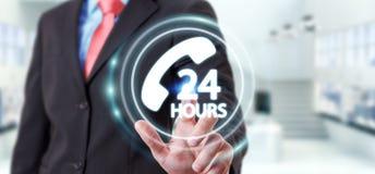Homem de negócios que usa a rendição do auxílio 3D do cliente da linha de apoio ao cliente Fotos de Stock