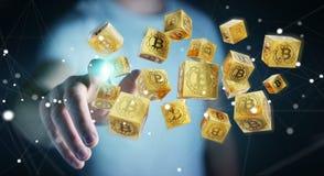 Homem de negócios que usa a rendição do cryptocurrency 3D dos bitcoins ilustração royalty free
