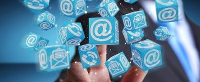 Homem de negócios que usa a rendição de flutuação do contato 3D do cubo Imagem de Stock Royalty Free